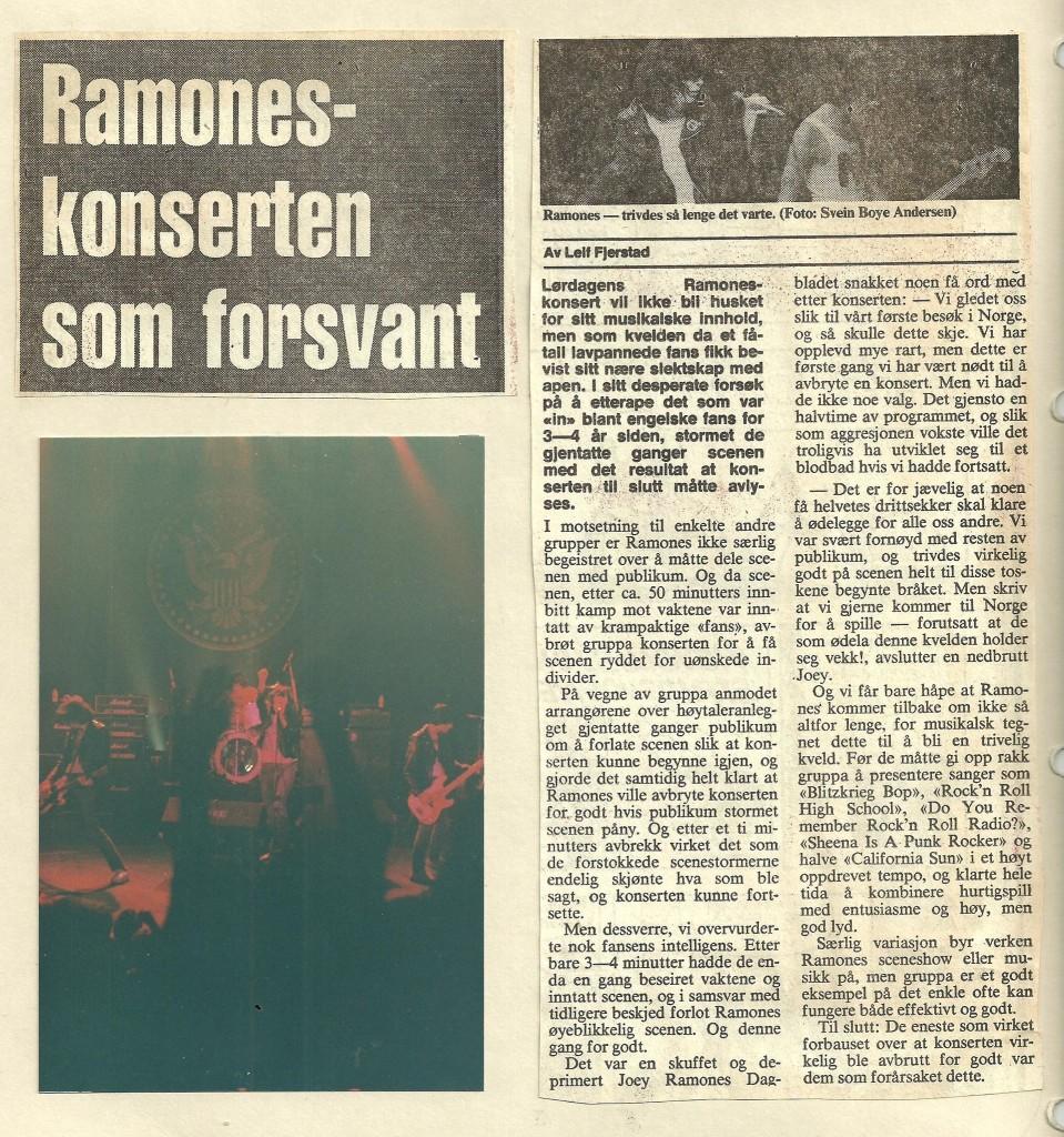 Slik ble saken om den avbrutte Ramones-konserten i Dagbladet.