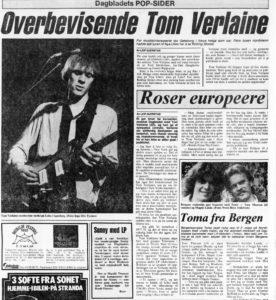 Musikkside i Dagbladet med Tom Verlaine, i juni 1982.