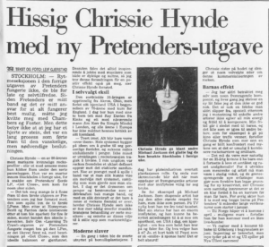 Chrissie Hynde-intervju i Bergens Tidende 1986.