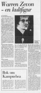 Warren Zevon-intervjuet, slik det sto på trykk i Bergens Tidende 17.02.1988 (Faksimile, Bergens Tidende)
